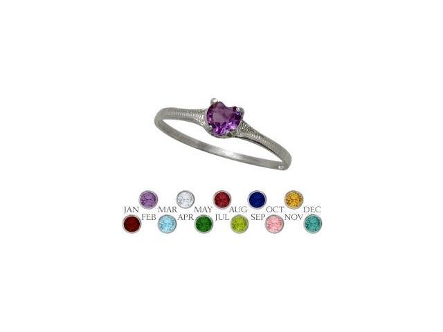 Genuine Sterling Silver Genuine Amethyst Heart Shape Gem Baby Ring - SIZE 4