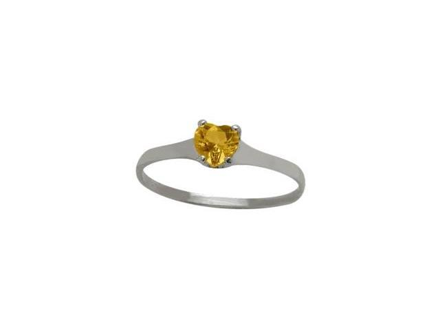 Genuine Sterling Silver Genuine Citrine Heart Solitaire Baby Ring - SIZE 2