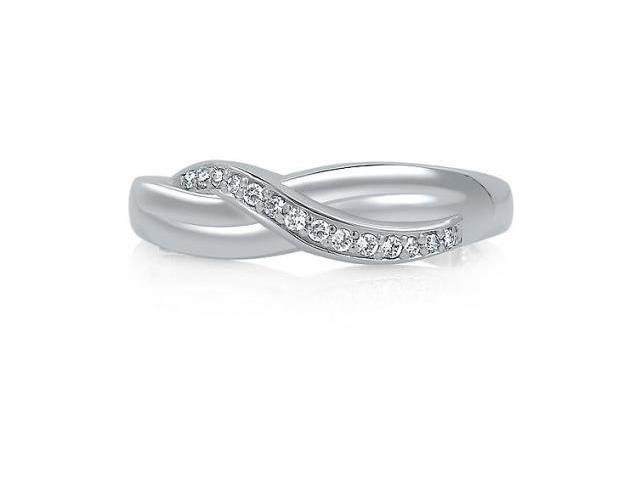 Sterling Silver Cubic Zirconia Twisted Ring - Size 6