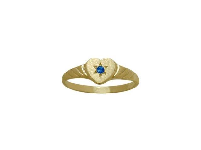 14 Karat Yellow Gold Created Sapphire Heart Solitaire Baby Ring - SIZE 3