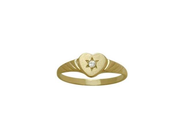 14 Karat Yellow Gold Genuine White Topaz Heart Solitaire Baby Ring - SIZE 2
