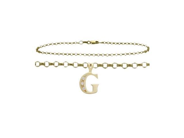 Diamond Initial G Yellow Gold 9