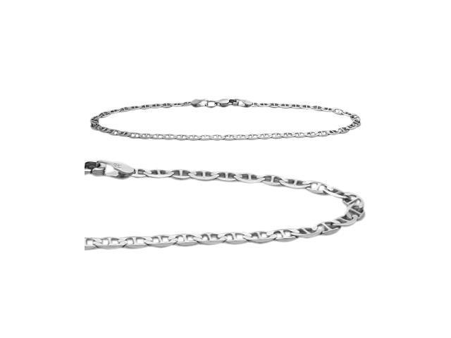 10K White Gold Flat Gucci Style 9 Inch Anklet