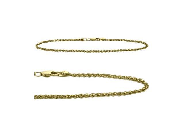 10K Yellow Gold Wheat Style 9 Inch Anklet