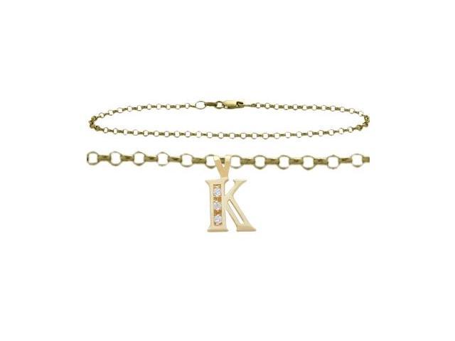 Diamond Initial K Yellow Gold 10