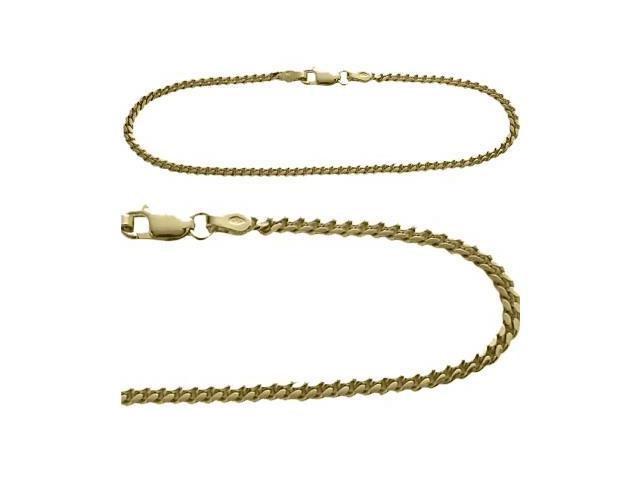 14K Yellow Gold 10 Inch Curb Style Anklet