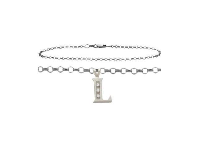 Diamond Initial L White Gold 10
