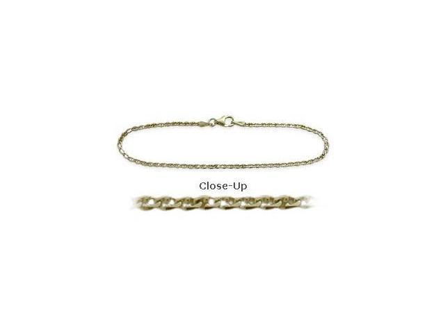 14K Yellow Gold 9 Inch Flat Gucci Style Anklet