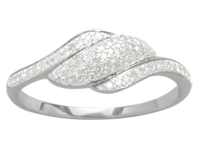 Ladies Genuine Sterling Silver Diamond Ring - 6