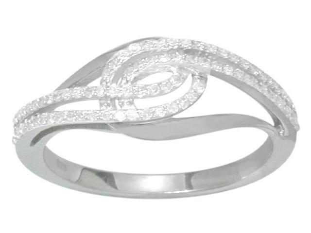 Genuine Sterling Silver Diamond Twist Style Ring - 6