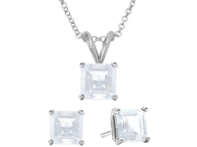 1.95 Carat Square Genuine April White Topaz Pendant & Earrings Set
