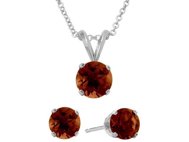 2.55 Carat Round Genuine January Garnet Pendant & Earrings Set