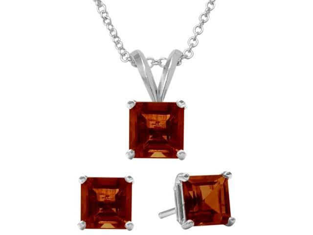 2.25 Carat Square Genuine January Garnet Pendant & Earrings Set