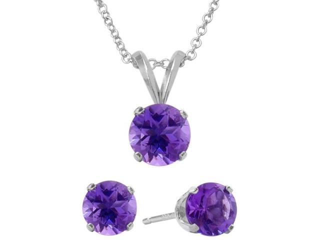 2.10 Carat Round Genuine February Amethyst Pendant & Earrings Set