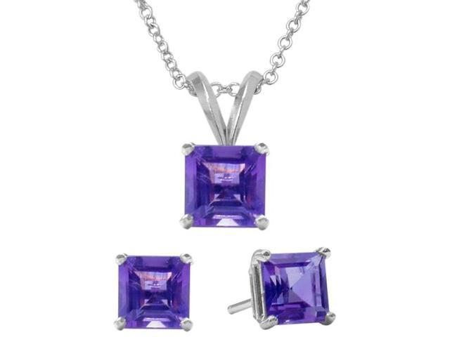 1.80 Carat Square Genuine February Amethyst Pendant & Earrings Set