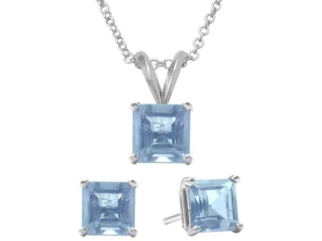 1.80 Carat Square Created March Aquamarine Pendant & Earrings Set
