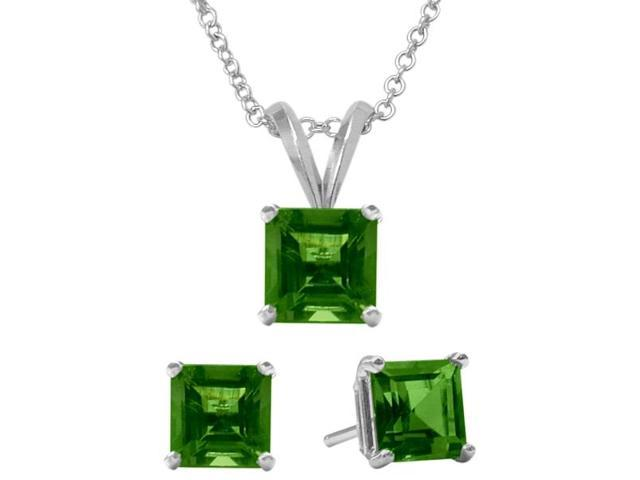 1.65 Carat Square Created May Emerald Pendant & Earrings Set