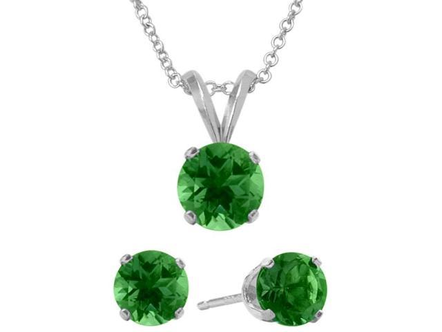 2.45 Carat Round Created May Emerald Pendant & Earrings Set