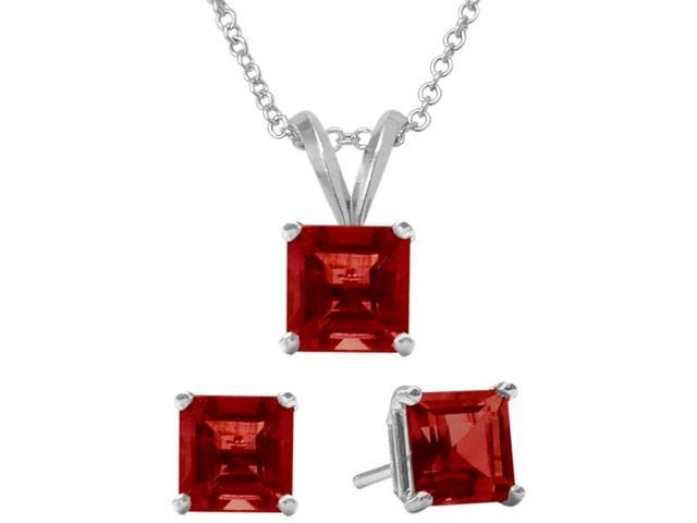 2.40 Carat Square Created July Ruby Pendant & Earrings Set