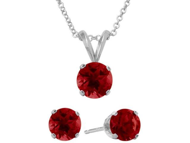 3.00 Carat Round Created July Ruby Pendant & Earrings Set