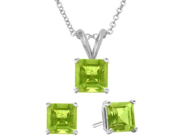 2.00 Carat Square Genuine August Peridot Pendant & Earrings Set