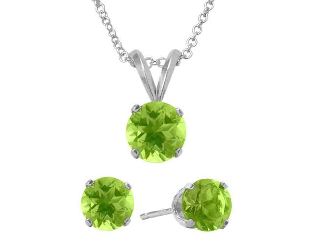 2.10 Carat Round Genuine August Peridot Pendant & Earrings Set