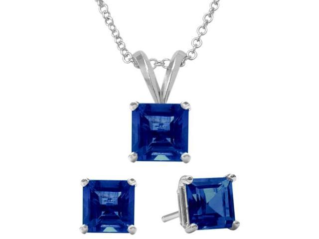 1.80 Carat Square Created September Sapphire Pendant & Earrings Set