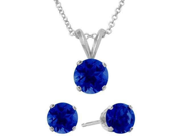 3.00 Carat Round Created September Sapphire Pendant & Earrings Set