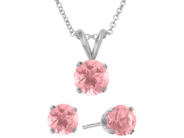 4.50 Carat Round Created October Pink Tourmaline Pendant & Earrings Set