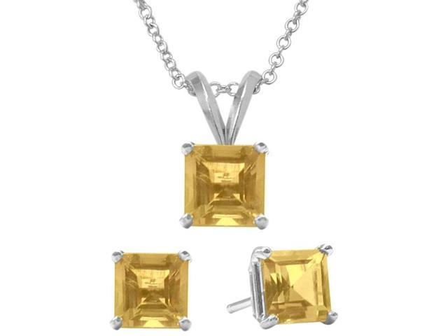 1.80 Carat Square Genuine November Citrine Pendant & Earrings Set