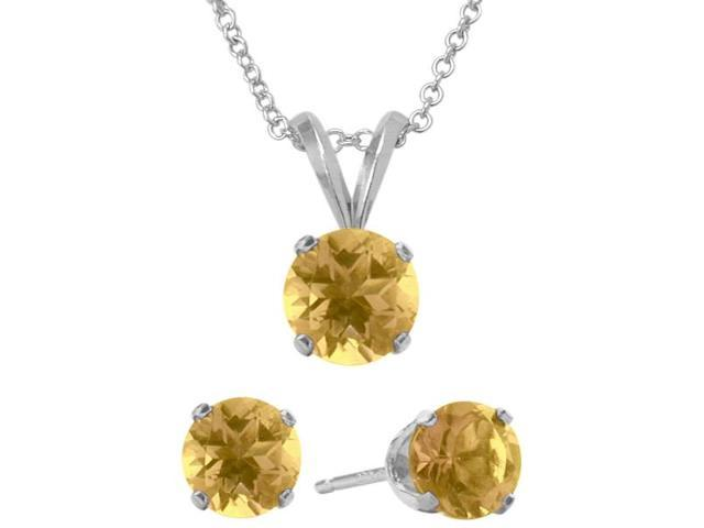 2.00 Carat Round Genuine November Citrine Pendant & Earrings Set