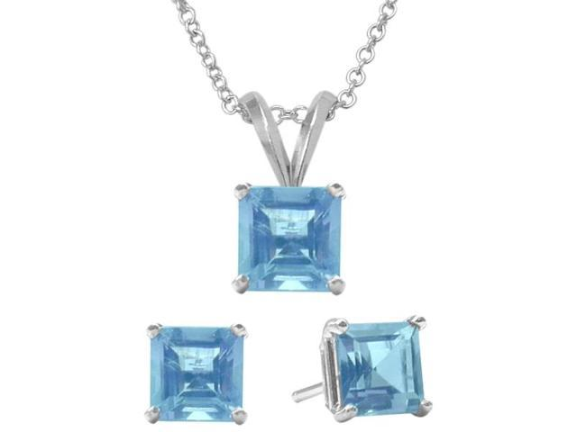2.30 Carat Square Genuine December Blue Topaz Pendant & Earrings Set