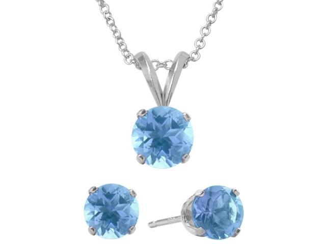 2.55 Carat Round Genuine December Blue Topaz Pendant & Earrings Set