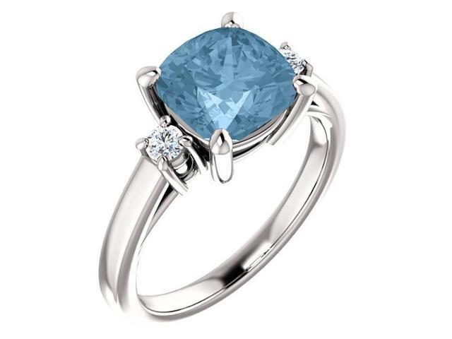 Genuine 8mm Antique Square Cushion 2.25 tcw. Blue Topaz  Gemstone Ring - Size 7