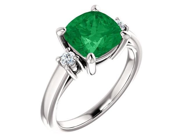 8mm Antique Square Cushion 2.00 tcw. Cubic Zirconia Emerald  Gemstone Ring - Size 8