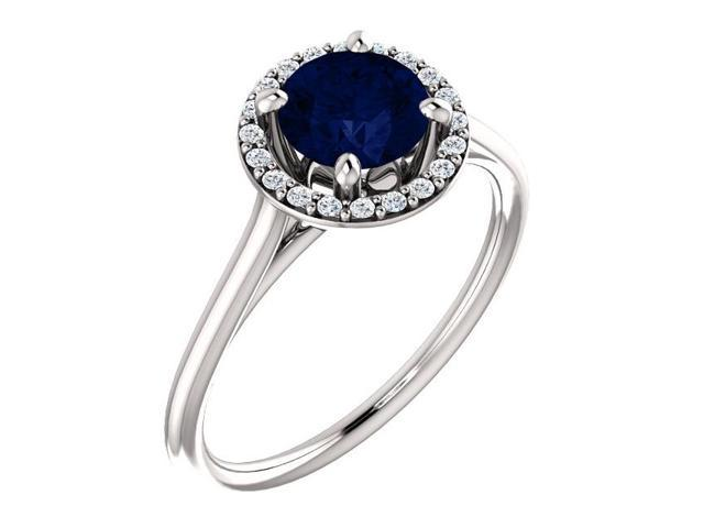 6mm 1.00 tcw. Created Sapphire & Diamond Halo Gemstone Ring - Size 6.5