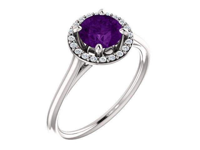 Genuine 6mm 0.70 tcw. Amethyst & Diamond Halo Gemstone Ring - Size 7