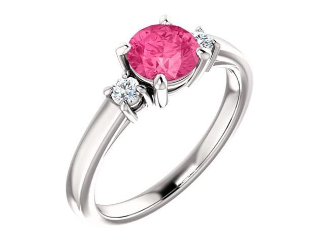 Created 6mm 1.50 tcw. Pink Tourmaline 3-Stone Gemstone Ring