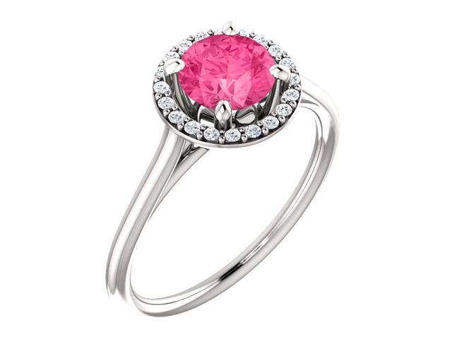 6mm 1.50 tcw. Created Pink Tourmaline & Diamond Halo Gemstone Ring - Size 6.5