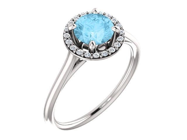 6mm 1.35 tcw. Created Aqua & Diamond Halo Gemstone Ring - Size 5