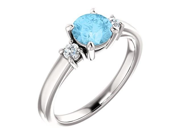 Created 6mm 0.90 tcw. Aqua 3-Stone Gemstone Ring