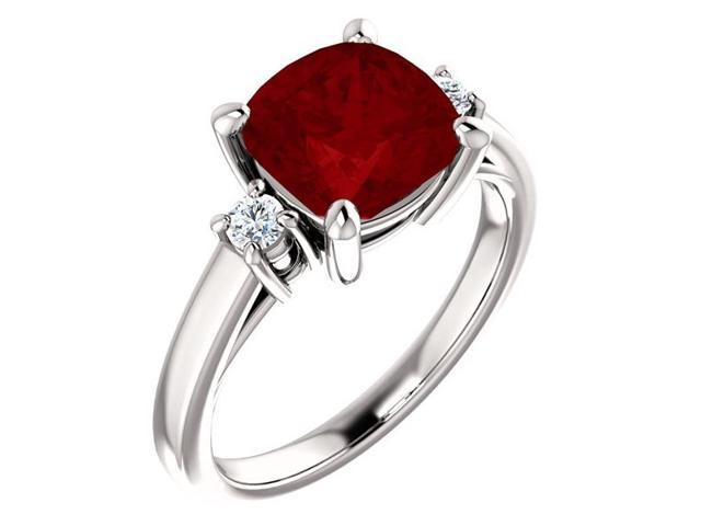 8mm Antique Square Cushion 2.50 tcw. Created Ruby  Gemstone Ring - Size 7