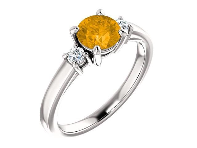 Genuine 6mm 0.85 tcw. Citrine 3-Stone Gemstone Ring