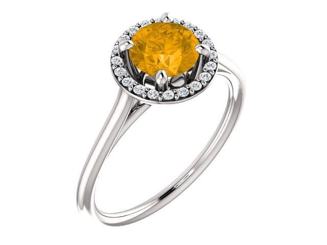 Genuine 6mm 0.70 tcw. Citrine & Diamond Halo Gemstone Ring - Size 5