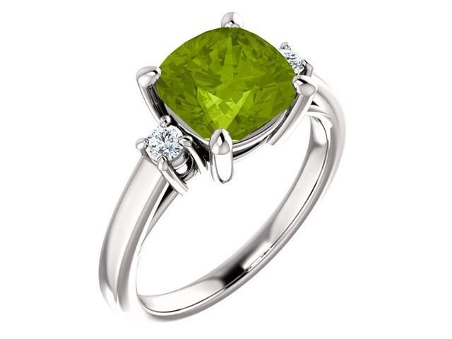 Genuine 8mm Antique Square Cushion 2.00 tcw. Peridot  Gemstone Ring - Size 8