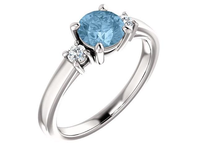 Genuine 6mm 0.95 tcw. Blue Topaz 3-Stone Gemstone Ring