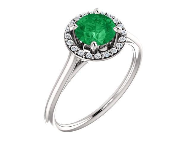 6mm 0.80 tcw. Created Emerald & Diamond Halo Gemstone Ring - Size 6.5