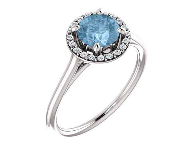 Genuine 6mm 0.95 tcw. Blue Topaz & Diamond Halo Gemstone Ring - Size 6.5