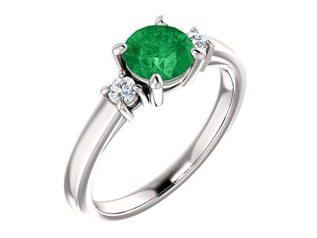 Created 6mm 0.80 tcw. Emerald 3-Stone Gemstone Ring