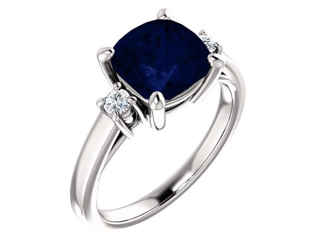 8mm Antique Square Cushion 2.50 tcw. Cubic Zirconia Sapphire  Gemstone Ring - Size 7